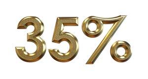 Wiedergabe 3d Goldprozentsätze auf einem weißen Hintergrund stock abbildung