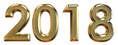 Wiedergabe 3d Guten Rutsch ins Neue Jahr 2018 Goldzahlen Lizenzfreie Stockbilder