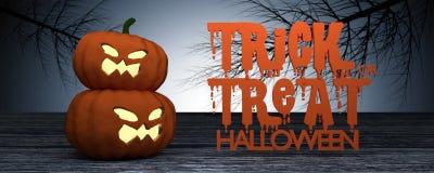 Wiedergabe 3D: Halloween gehen Steckfassung-Olaternenkürbis auf Bretterboden mit mystischer Nacht mit getrocknetem Baum im Hinter Stockfotos