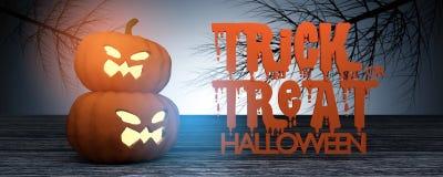 Wiedergabe 3D: Halloween gehen Steckfassung-Olaternenkürbis auf Bretterboden mit mystischer Nacht mit getrocknetem Baum im Hinter stock abbildung