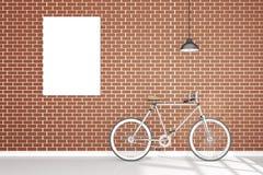 Wiedergabe 3D: Illustration der Retro- Weinlesefahrrad- und Weinlesemetalllampe, die auf dem Dach gegen die Wand des roten Backst Stockfotos