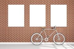 Wiedergabe 3D: Illustration der Retro- Weinlesefahrrad- und Weinlesemetalllampe, die auf dem Dach gegen die Wand des roten Backst Lizenzfreies Stockbild
