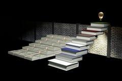 Wiedergabe 3D: Illustration des Erfolgs durch Wissenskonzept Leiter zum Erfolg ein Geschäft oder das Leben durch Wissen Abstrakte Stockbilder