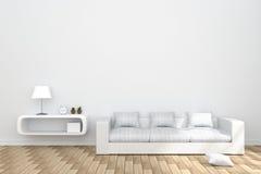 Wiedergabe 3D: Illustration des gemütlichen Wohnzimmerinnenraums mit Weißbuchregal und der weißen Sofamöbel gegen matte weiße Wan Stockfotos