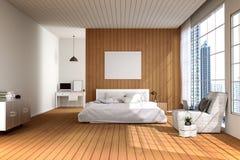 Wiedergabe 3D: Illustration des großen geräumigen Schlafzimmers in der weichen hellen Farbe großes bequemes Doppelbett im elegant Stockfotos