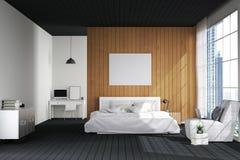 Wiedergabe 3D: Illustration des großen geräumigen Schlafzimmers in der weichen hellen Farbe großes bequemes Doppelbett im elegant Lizenzfreie Stockfotos