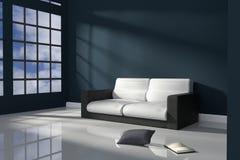 Wiedergabe 3D: Illustration des Innenraumes der dunkelblauen Minimalismusart mit modernen ledernen Sofaschwarzweiss-möbeln Stockbilder