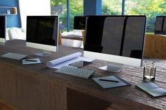 Wiedergabe 3D: Illustration des Internet-PC-Cafédekorationsinnenraums oder PC-Büro des Computerarbeitskraftinnenraums Stockfotos