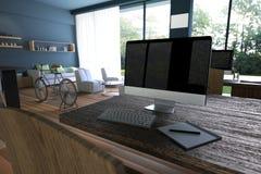 Wiedergabe 3D: Illustration des Internet-PC-Cafédekorationsinnenraums oder PC-Büro des Computerarbeitskraftinnenraums Stockbilder
