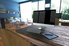 Wiedergabe 3D: Illustration des Internet-PC-Cafédekorationsinnenraums oder PC-Büro des Computerarbeitskraftinnenraums Lizenzfreie Stockfotos