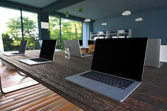 Wiedergabe 3D: Illustration des Internet-PC-Cafédekorationsinnenraums oder PC-Büro des Computerarbeitskraftinnenraums modernes Da Stockfoto