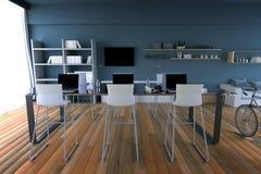 Wiedergabe 3D: Illustration des Internet-PC-Cafédekorationsinnenraums oder PC-Büro des Computerarbeitskraftinnenraums modernes Da Lizenzfreie Stockfotos