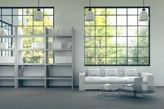 Wiedergabe 3D: Illustration des modernen Hausinnenraums Wohnzimmerteil des Hauses weiße Möbel in der Reinraumart Modernes Haus Lizenzfreies Stockbild