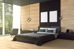 Wiedergabe 3D: Illustration des modernen Holzhausinnenraums Bettraumteil des Hauses Geräumiges Schlafzimmer in der hölzernen Art Stockbild