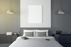 Wiedergabe 3D: Illustration des modernen Holzhausinnenraums Bettraumteil des Hauses Geräumiges Schlafzimmer in der hölzernen Art Stockbilder