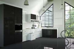 Wiedergabe 3D: Illustration des modernen Innenküchenraumes Küchenteil des Hauses Schwarzweiss-Regal Spott oben Glänzender Fußbode Lizenzfreie Stockbilder