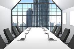 Wiedergabe 3D: Illustration des modernen Konferenzsaales mit Bürostuhlmöbeln große Fenster und Stadtansicht Bürospott oben laptop Stockbild