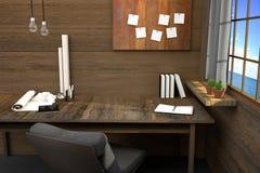 Wiedergabe 3D: Illustration des modernen kreativen Arbeitsplatzes Werkzeuge auf Holztisch und hölzernem Raum Vorhang und Fenster Stockfotografie
