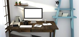 Wiedergabe 3D: Illustration des modernen kreativen Arbeitsplatzmodells Lizenzfreie Stockfotografie