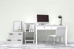 Wiedergabe 3D: Illustration des modernen kreativen Designerbüroinnendesktops mit PC-Computer Stockfotos