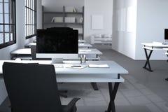 Wiedergabe 3D: Illustration des modernen kreativen Designerbüroinnendesktops mit PC-Computer Computerlabors Anmerkungen und Feder Stockfotografie