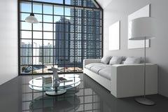 Wiedergabe 3D: Illustration des modernen weißen Minimalismusinnenwohnzimmers mit Laptop-Computer und Buch auf Glastisch Lizenzfreies Stockbild