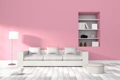 Wiedergabe 3D: Illustration des modernen Wohnzimmerinnenraums Lizenzfreies Stockbild