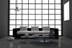 Wiedergabe 3D: Illustration des Schwarzweiss-Wohnzimmers des modernen Innenminimalismus mit Laptop-Computer und Buch auf Glastisc Stockbild