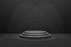 Wiedergabe 3D: Illustration des Stadiums für Preiszeremonie Schwarzes rundes Podium Erster Platz 3 Schritte leeren Podium auf sch Lizenzfreie Stockfotografie