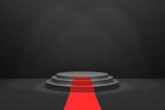 Wiedergabe 3D: Illustration des Stadiums mit rotem Teppich für Preiszeremonie Schwarzes rundes Podium Erster Platz 3 Jobstepps le Lizenzfreie Stockfotografie