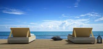 Wiedergabe 3D: Illustration des Strandaufenthaltsraums - Ansicht Sundeck und des Meeres für Ferien und Sommer auf braunem Bretter Stockfotos