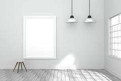 Wiedergabe 3D: Illustration des weißen Plakats hängend an der wall3D-Wiedergabe: Illustration des weißen Plakats hängend an der W Stockbild