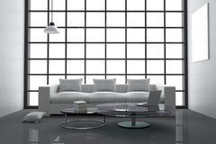 Wiedergabe 3D: Illustration des weißen Wohnzimmers des modernen Innenminimalismus mit Laptop-Computer und Buch auf Glastisch Lizenzfreie Stockfotografie
