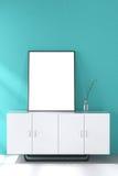 Wiedergabe 3d: Illustration des Weißspotts herauf Rahmen Geometrischer abstrakter Hintergrund für Design Spott herauf weißes Plak Stockbild