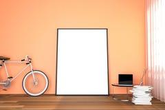 Wiedergabe 3d: Illustration des Weißspotts herauf Rahmen Geometrischer abstrakter Hintergrund für Design Spott herauf weißes Plak Lizenzfreie Stockfotos
