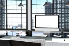 Wiedergabe 3D: Illustration nah oben vom kreativen Designerbürodesktop mit leerem Computer, Tastatur, Kamera, Lampe Stockbild