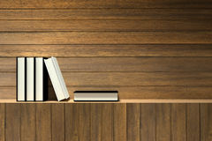 Wiedergabe 3D: Illustration von Büchern auf hölzernem Regal oder hölzerner Stange gegen hölzerne Wand Lizenzfreie Stockfotografie