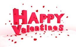 Wiedergabe 3D: Illustration von 3d beschriftet glücklichen Valentinsgrußtag und rotes realistisches Herz, auf den Boden auf einem Stockbild