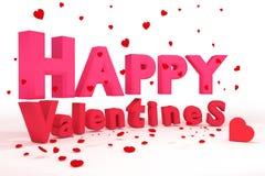 Wiedergabe 3D: Illustration von 3d beschriftet glücklichen Valentinsgrußtag und rotes realistisches Herz, auf den Boden auf einem Stockfotos