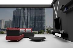 Wiedergabe 3D: Innenraum des hohen Aufstiegs-Eigentumswohnungs-- roten und schwarzen Schnittsofas mit wenigem Schreibtisch und Fe Lizenzfreies Stockfoto