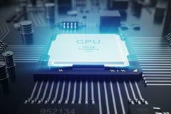 Wiedergabe 3D Leiterplatte Telefon mit Planetenerde und binärem Code Zentraler Computer-Prozessoren CPU-Konzept Digitaler Chip de Lizenzfreies Stockbild