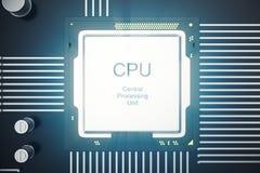 Wiedergabe 3D Leiterplatte Telefon mit Planetenerde und binärem Code Zentraler Computer-Prozessoren CPU-Konzept Digitaler Chip de stock abbildung