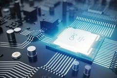 Wiedergabe 3D Leiterplatte Telefon mit Planetenerde und binärem Code Zentraler Computer-Prozessoren CPU-Konzept Digitaler Chip de Stockfotos