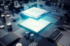 Wiedergabe 3D Leiterplatte Telefon mit Planetenerde und binärem Code Zentraler Computer-Prozessoren CPU-Konzept Digitaler Chip de Lizenzfreie Stockfotos