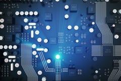 Wiedergabe 3D Leiterplatte Telefon mit Planetenerde und binärem Code Zentraler Computer-Prozessoren CPU-Konzept Digitaler Chip de Lizenzfreie Stockbilder