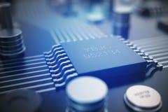 Wiedergabe 3D Leiterplatte Telefon mit Planetenerde und binärem Code Zentraler Computer-Prozessoren CPU-Konzept Digitaler Chip de Stockfoto