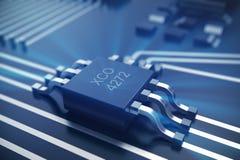 Wiedergabe 3D Leiterplatte Telefon mit Planetenerde und binärem Code Zentraler Computer-Prozessoren CPU-Konzept Digitaler Chip de Stockfotografie