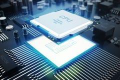Wiedergabe 3D Leiterplatte Telefon mit Planetenerde und binärem Code Zentraler Computer-Prozessoren CPU-Konzept Digitaler Chip de Stockbild