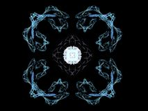 Wiedergabe 3D mit blauem abstraktem Fractalmuster Stockfotos