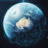 Wiedergabe 3D Netz und Datenaustausch über Planetenerde im Raum Verbindungslinien um Erdkugel global Lizenzfreie Stockfotos